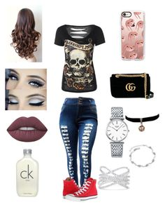 """See ya at midnight ☠️"" by michelle-martinez890 on Polyvore featuring Converse, Lime Crime, Calvin Klein, Casetify, Gucci, Longines and Effy Jewelry"