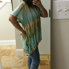 Long T tie-dyed in turquoise, olive, tan and brown Long asymmetrical T-shirt beautifully tie-dyed ultra soft and stretchy Shannon Ford Tops Blouses