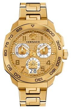 Discover the luxury and glamour of Versace watches! Stay current on new releases from Versace as well as Versus Versace watches, the fashion brand from Versace. Key Bracelet, Bracelet Watch, Patek Philippe, Cool Watches, Watches For Men, Men's Watches, Dream Watches, Fine Watches, Rolex