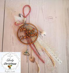 Τα πρώτα του Χριστούγεννα! γούρι ξύλινο με 2018 με ματάκι κ κορδέλες #lucky18 #handmade #gouria