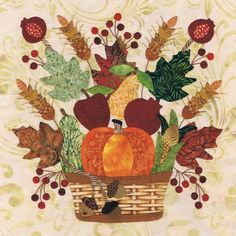 Blk # 7 Bushel Bouquet for Baltimore Autumn quilt pattern by Pearl P. Pereira Designs, applique cotton