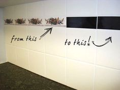 Idea: cover ugly tile pattern or color with vinyl, mactac or even stainless steel wallpaper