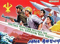 www.laendersammler.de Communist Propaganda, Propaganda Art, North Korea, Korean Women, Countries Of The World, Coat Of Arms, Revolution, Portraits, Posters