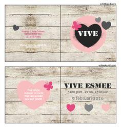 Geboortekaartje - Stoer geboortekaartje voor een stoer meisje! Ontwerp dit kaartje zelf, met onze ontwerptool. www.geboortekaartjesdrukkerij.nl