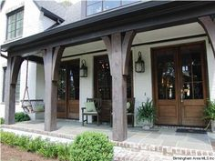 Porch Stone Front House, House Front, Front Porch Columns, Porch Posts, Cabin Floor Plans, Brick And Stone, Chapel Hill, Arbors, Dream Houses