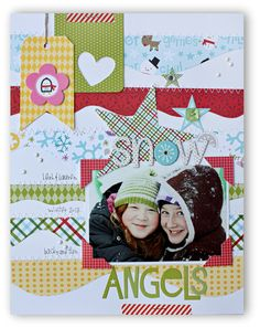 Snow Angels *Bella Blvd* - Scrapbook.com - Cut rolling hill white cardstock for a snow layout.