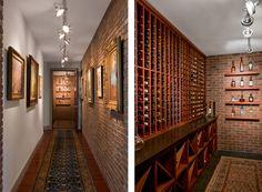 Downtown Austin condo designed by Cravotta Interiors - Wine room with brick walls.