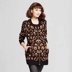 Women's Animal Print Zip Front Cardigan - Alison Andrews Black/Brown at Target. Affiliate link.
