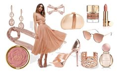 """""""Rose Gold Sweety Monochrome for a Wedding Day Low Cost Outfit"""" by rosalba-scotti ❤ liked on Polyvore featuring ASOS, Palm Beach Jewelry, Ted Baker, Bulgari, Smith & Cult, Quay, Givenchy, Sergio Rossi and Milani"""