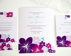 Destination Wedding Invitations in Pink and Purple, Tropical Hummingbird, Summer Caribbean Beach Wedding - Deposit to Get Started