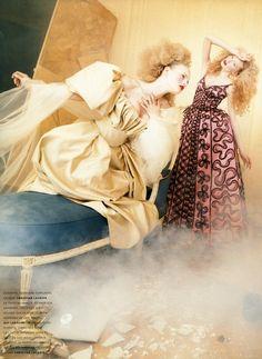 """""""Si la couture m'etait contee"""": Chrystele Saint-Louis Augustin, Jodie Kidd, Guinevere Van Seenusby David Lachapelle for Paris Vogue"""