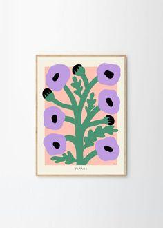 Botanical Illustration, Illustration Art, Illustrations, Purple Poppies, Poppies Art, Saturated Color, Figurative Art, Bold Colors, Giclee Print