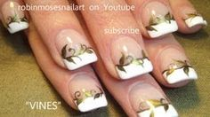 Easy French Manicure with vines robin moses favorite design nail art tutorial 716, via YouTube.