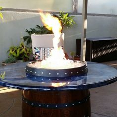Wine Barrel Propane Fire Pit Table Top Made In San Diego.