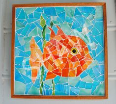 """Fins"" Handcrafted 12"" x 12"" stained glass mosaic. This item has been sold."