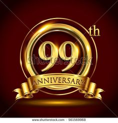99th golden anniversary logo, ninety nine years birthday celebration with gold ring and golden ribbon.