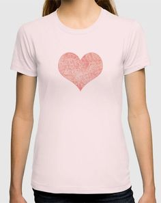 """""""Peach echo and white zentangles"""" T-Shirt by Savousepate on Society6 #tshirt #teeshirt #clothing #heart #pattern #abstract #zentangles #doodles #scrolls #spirals #pastel #pink #coral #salmon #peachecho #rosequartz #white #pantonecolors2016"""