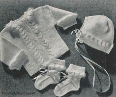 Knit Baby Layette Set Pattern Vintage 1940s  - ANGORA RUFFLES LAYETTE Set Vintage Knitting Pattern  KittenSoft - Includes Free Bonus Pattern. $3.85, via Etsy.
