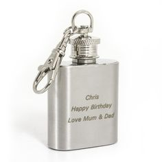 Unique Gift Idea for Best Man and Ushers - Personalised Stainless Steel 1oz Hip Flask Keyring Gift