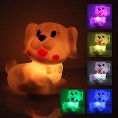 Søt hund formet fargerike LED Night Light (3xAG13) - NOK kr. 17