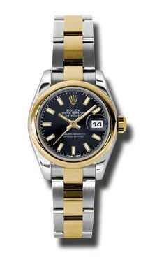 Datejust Black Dial Steel and Yellow Gold Ladies Watch