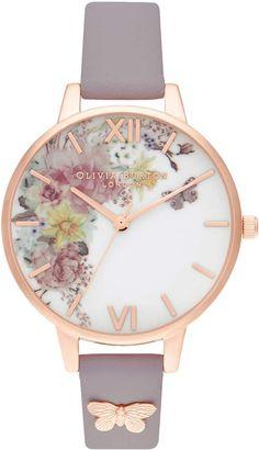 871632bfd Olivia Burton Enchanted Garden Leather Strap Watch