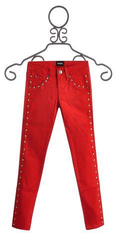 Hudson Jeans Studded Red Skinny Jeans for Girls