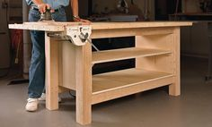 Our Best Woodworking Workbench Designs and Plans Building A Workbench, Workbench Plans, Woodworking Workbench, Fine Woodworking, Garage Workbench, Workbench Organization, Industrial Workbench, Sketchup Woodworking, Ana White