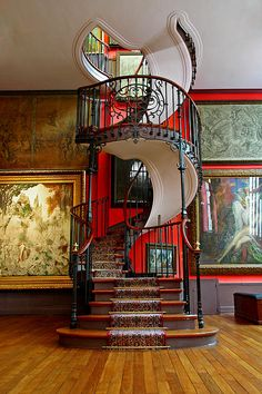 Art Nouveau and Art Deco — Spiral Staircase, National Museum, Paris Grand Staircase, Staircase Design, Black Staircase, Staircase Diy, House Staircase, Stair Design, Floating Staircase, Foyer Design, Grande Cage D'escalier