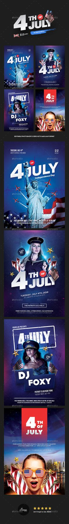 4th of July Flyer Bundle (4 in 1) — Photoshop PSD #dj #4th of july party • Download ➝ https://graphicriver.net/item/4th-of-july-flyer-bundle-4-in-1/20206598?ref=pxcr