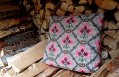 Pillow cover  Vintage Skandinavian  embroidered by travelingpillow, $33.00