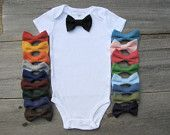 Baby Clothes Bow Tie Onesie - Choose Your Color. $18.00, via Etsy.