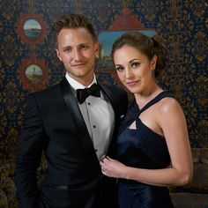 Laura Osnes and Nathan Johnson at the TodayTix Tony Awards photo lounge at the O&M after-party at The Carlyle. Photo by Amy Arbus.