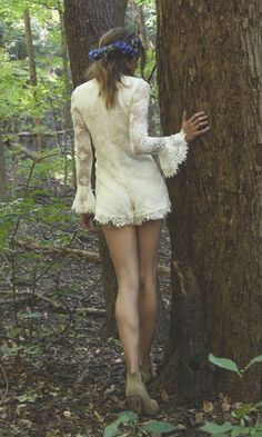 "Crochet Lace Bohemian Bridal Romper - ""Denver"" by Daughters of Simone"