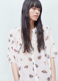Printed flowy shirt - Shirts for Woman   MANGO United Kingdom