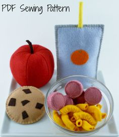 Felt Food Set, Felt Food Macaroni & Cheese, Felt Hot Dogs, Easy Pattern, Suitable for Beginners, Felt Apple, Felt Cookie, Felt Juice Pouch