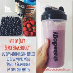 4th of July Mixed Berry Vanilla Shakeology recipe smoothie recipe berry smoothie