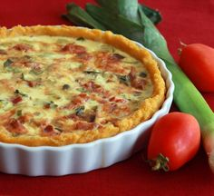 Bacon, Leek, and Roasted Tomato Quiche with Polenta Crust.  daringgourmet.com