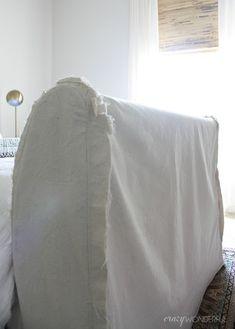 DIY slipcovered sleigh bed - Crazy Wonderful Wood Sleigh Bed, Sleigh Bed Frame, Sleigh Beds, Guest Bedrooms, Bedroom Sets, Bedroom Decor, Master Bedrooms, Luxury Bedding Sets, Upholstered Beds