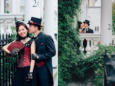 london engagement cosplay pre wedding vintage fantasy autumn photo shoot kynance mews kensington steampunk