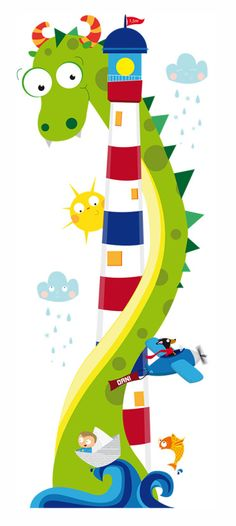 Vinilo de pared infantil para Dani #faro #dinosaurio #pez #avión #ilustracióninfantil #carinagalliano Kids Room Murals, Wall Murals, Nursery Drawings, Preschool Classroom Decor, Boat Illustration, School Murals, Christmas Drawing, School Decorations, Art For Kids