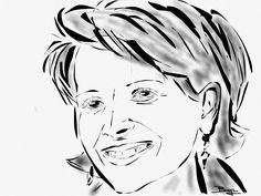 Juliette Binoche portrait Indian ink