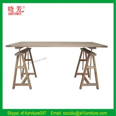 Latest rustic style solid oak wood Trestle based dining table (RF1008)