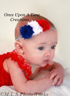 Red White and Blue Petite Shabby Flower by OnceUponATimeTuTus, $5.99