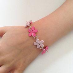 Pink flower bracelet for girls, flower girls bracelet, bracelet for kids