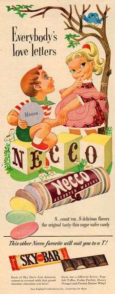 Necco assorted wafers ad 1950's