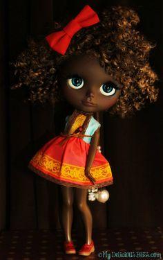 Etta OOAK Beautiful Brown Blythe Ethnic Custom by MyDeliciousBliss