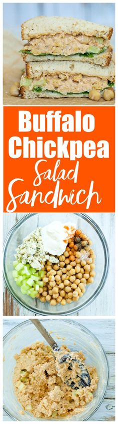 This Buffalo Chickpea Salad Recipe takes less than 10 minutes to make and tastes incredible! Great vegetarian sandwich recipe!