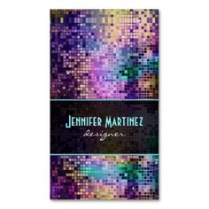 Multicolor Sparkles & Glitter Pattern Business Card Templates