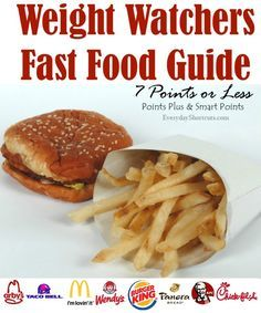 weight watchers fast food guide 7 points or less